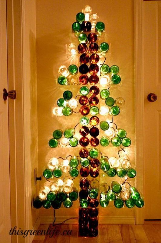 sapin de Noël en bouteilles