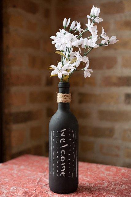 bouteille servant de vase