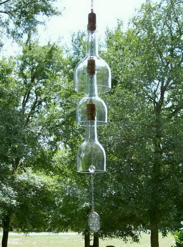 carillon fait avec des bouteilles en verre