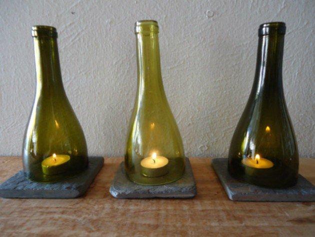 bougies dans des demi-bouteilles