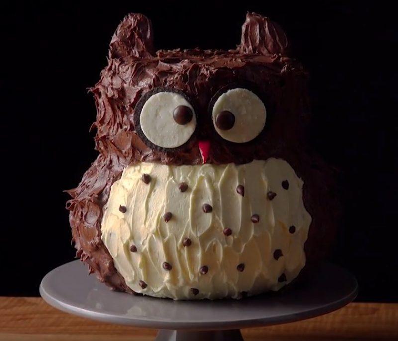 gâteau en forme de hibou