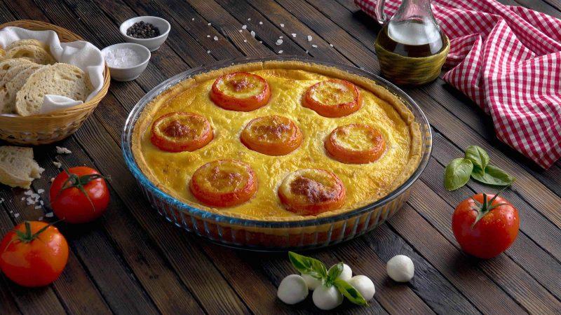 quiche tomate mozza terminée