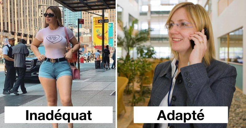 montage de deux façons de s'habiller pour une femme : l'une en short t-shirt vue comme inadéquate et l'autre en tailleur vue comme bien habillée