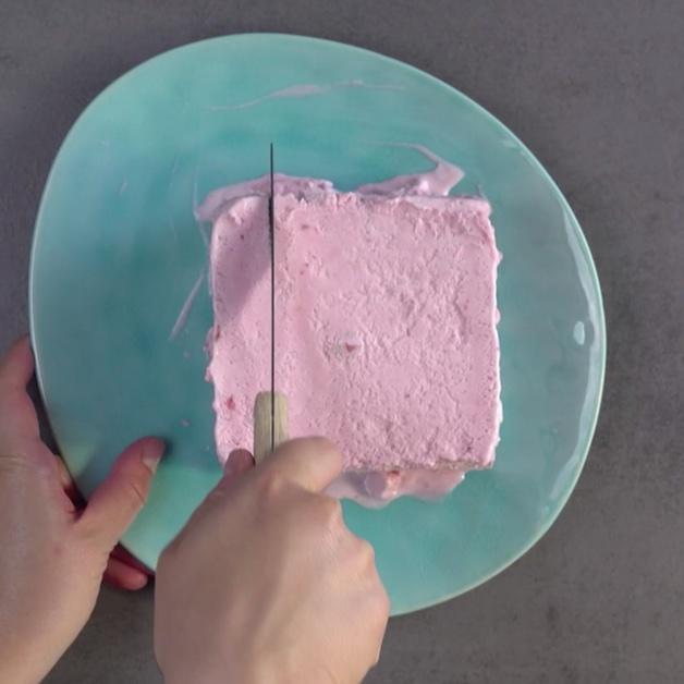 Glace coupée au couteau