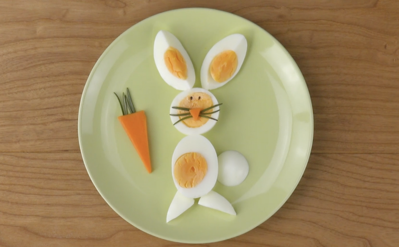 œuf dur en forme de lapin