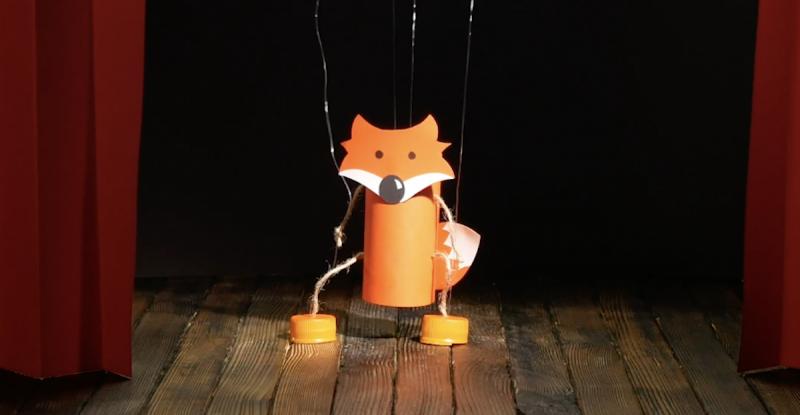 marionnette renard en papier toilette