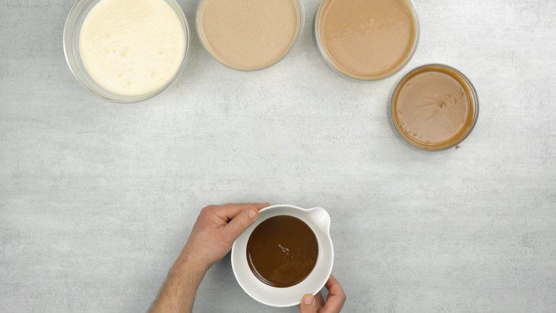 saladiers avec un dégradé de chocolat