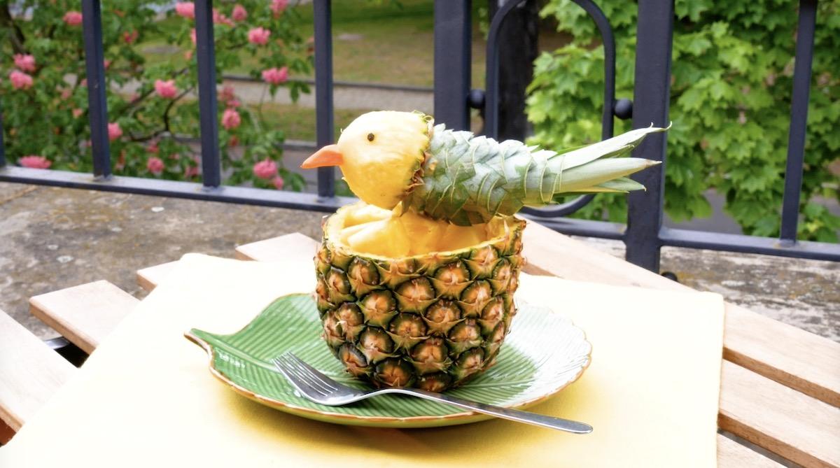 mettre l'oiseau sur l'ananas