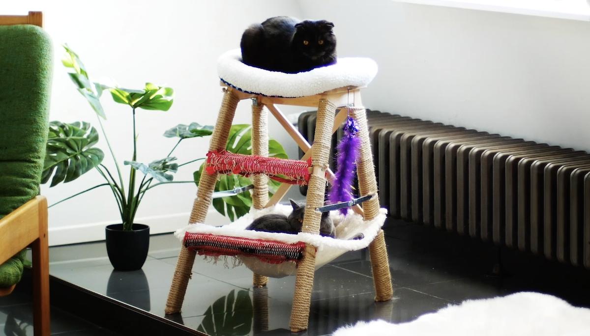 arbre à chats fait maison avec 2 chats