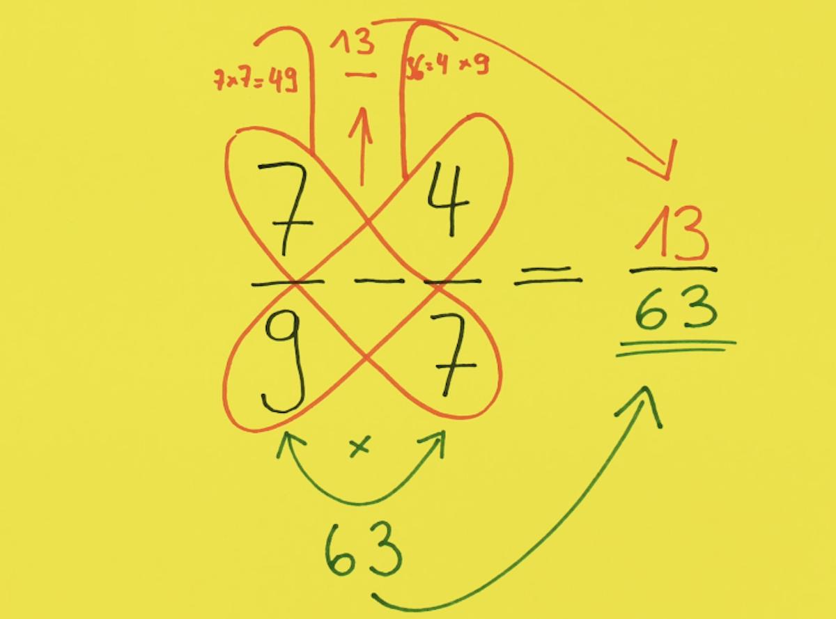 soustraire des fractions avec la méthode du papillon