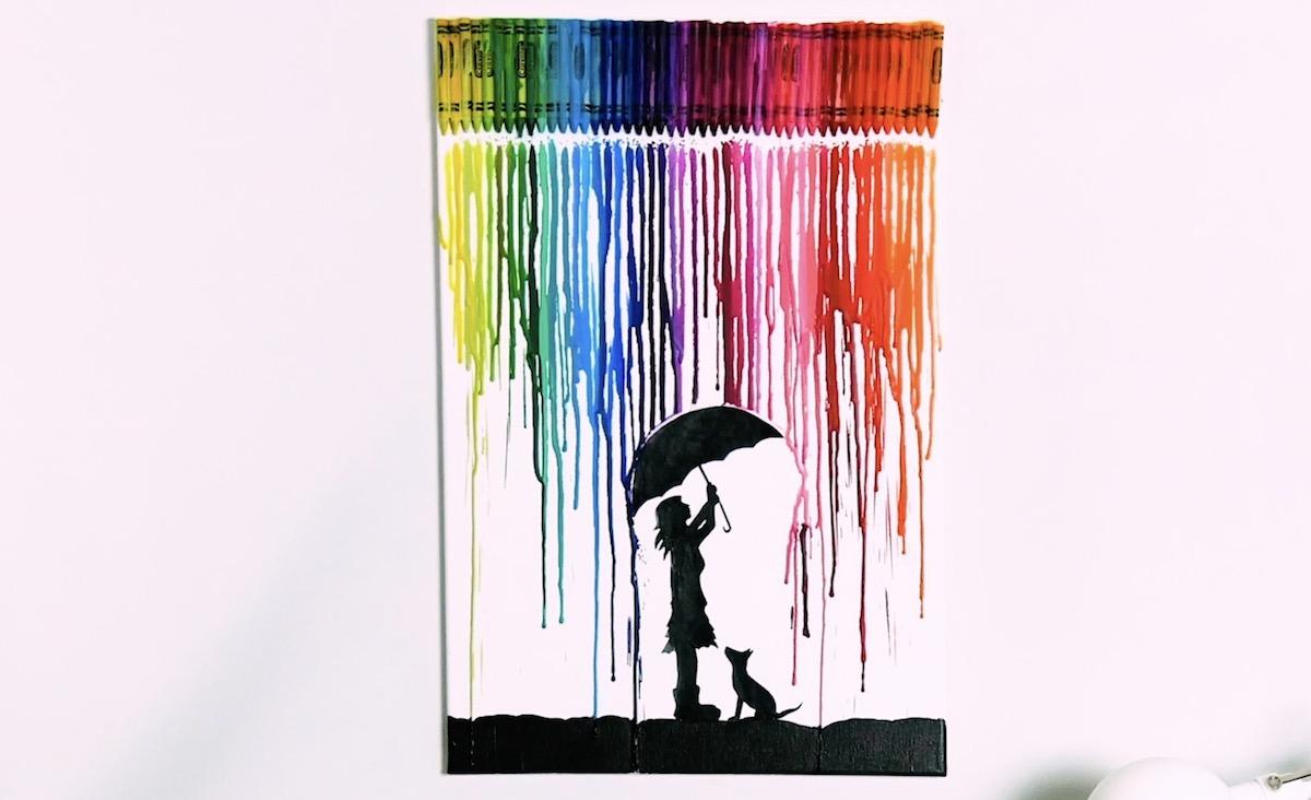 dessin sur toile avec des crayons gras fondus