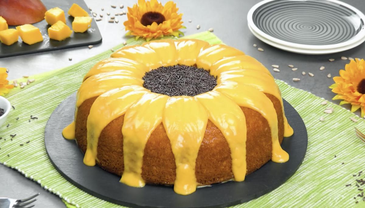 gâteau aux brigadeiros en forme de tournesol