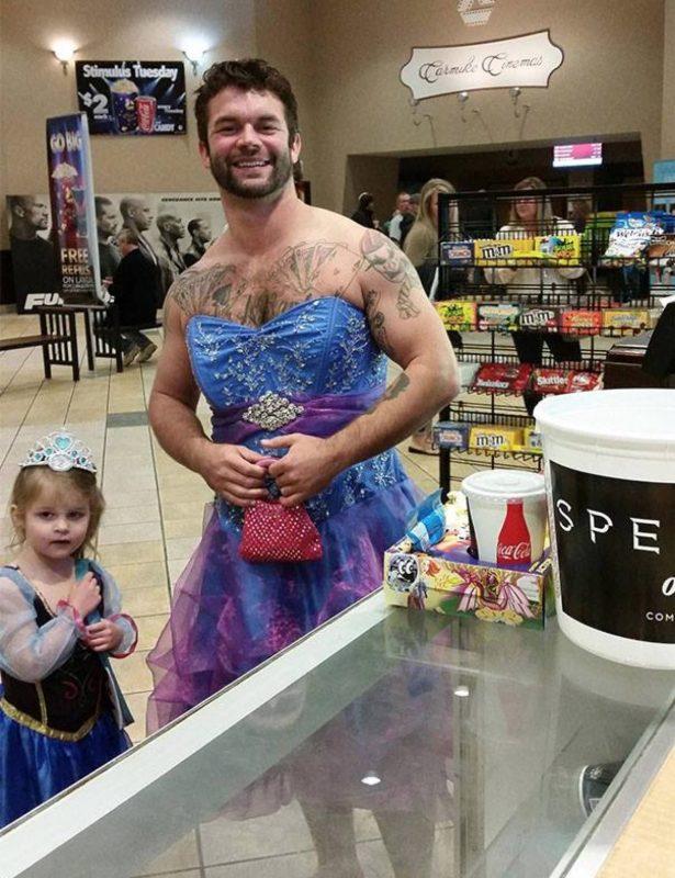papa déguisé en princesse