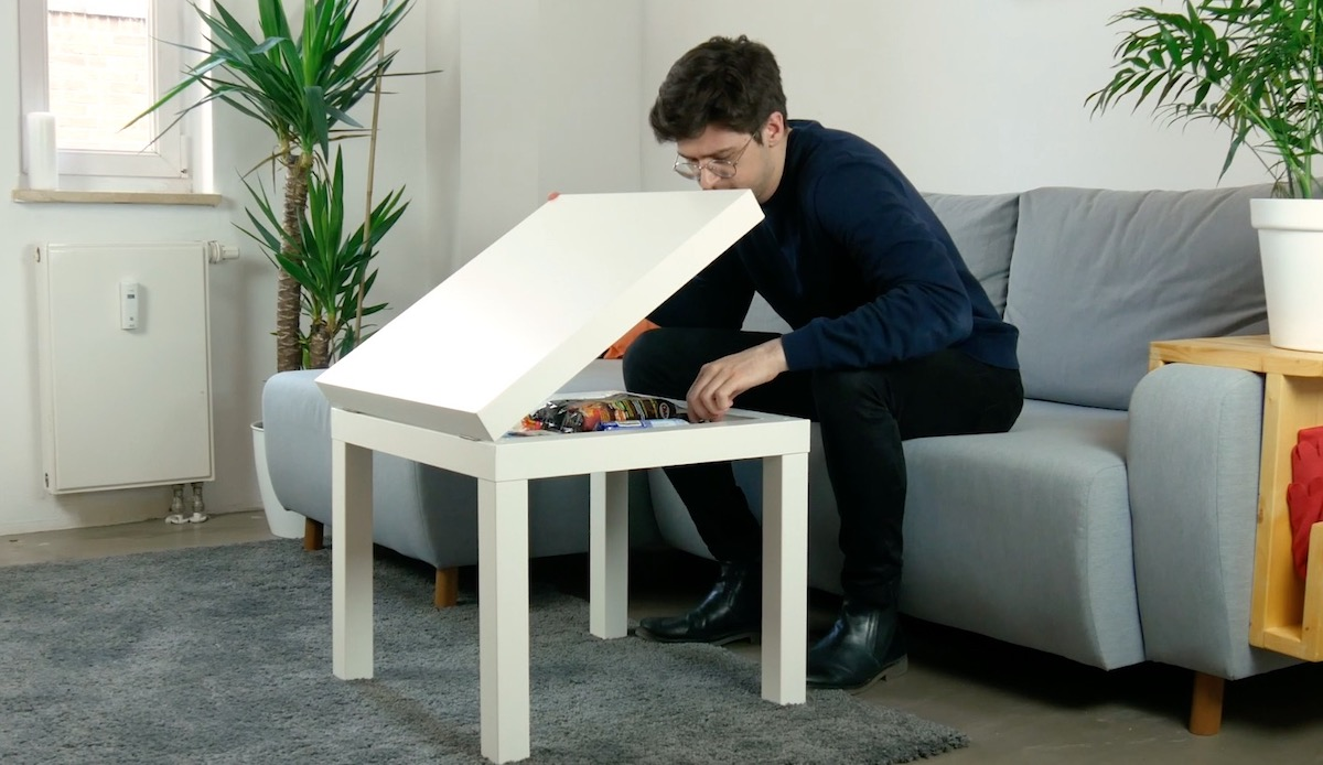 table with storage space