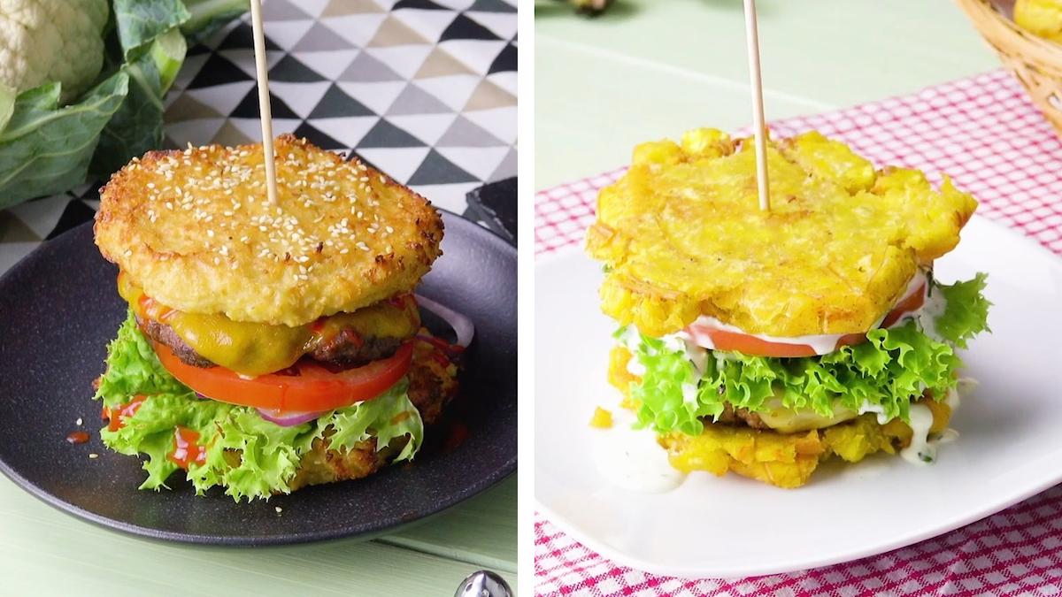 Hamburger au chou-fleur et burger à la banane