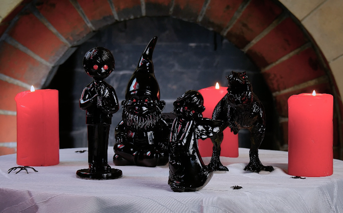 black toys with red eyes