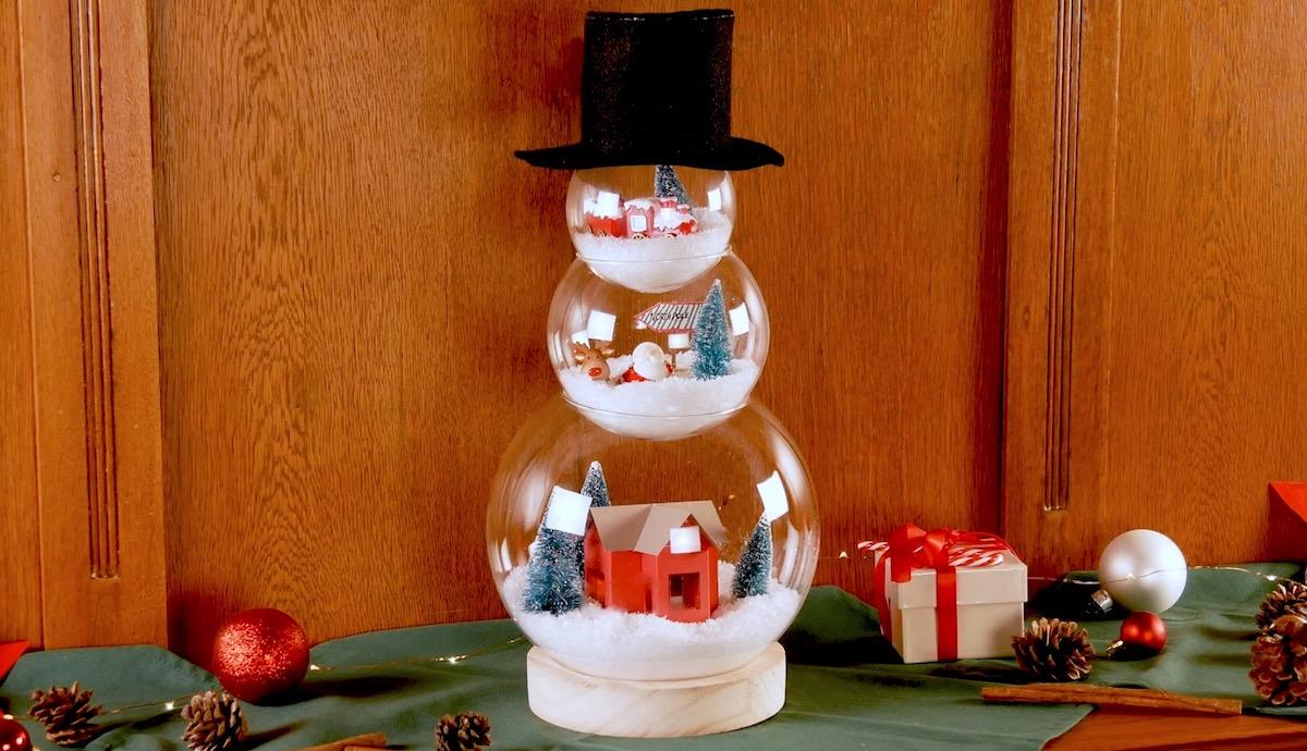 bonhomme de neige en verre