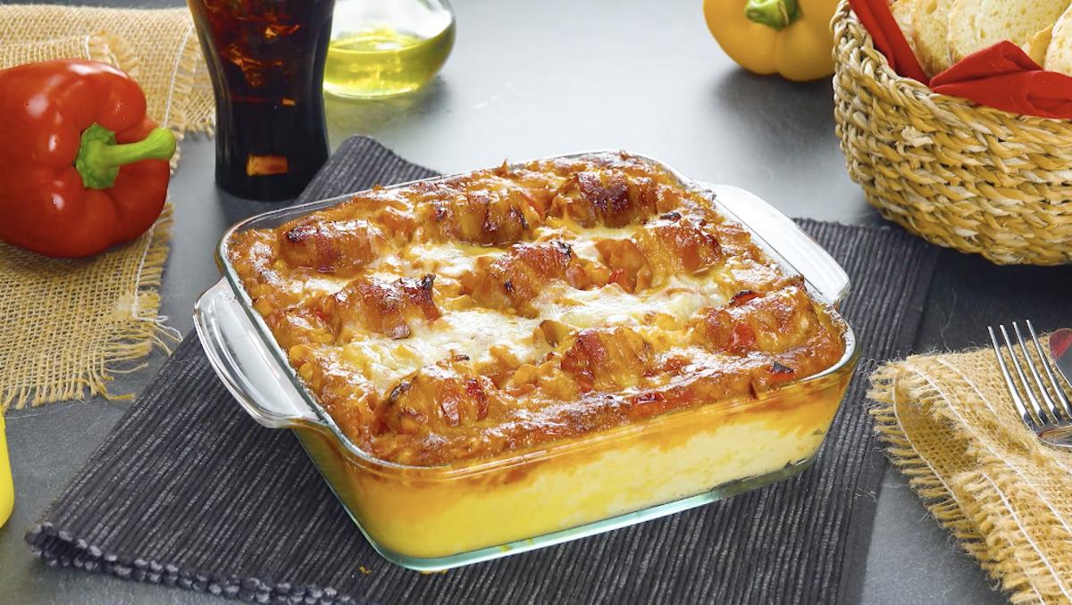 gratin aux nuggets, lard, camembert et mozzarella