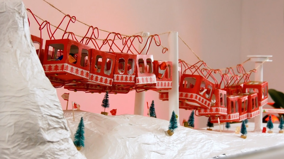 Advent calendar in the shape of a cable car