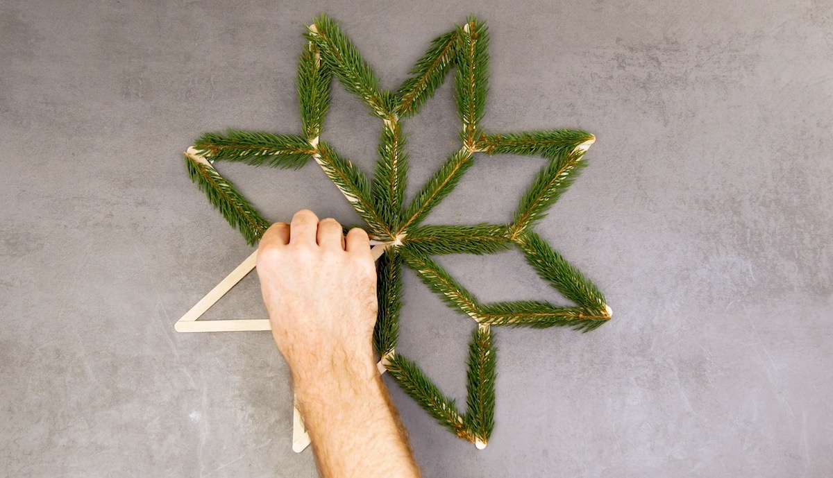 stick branches on the star