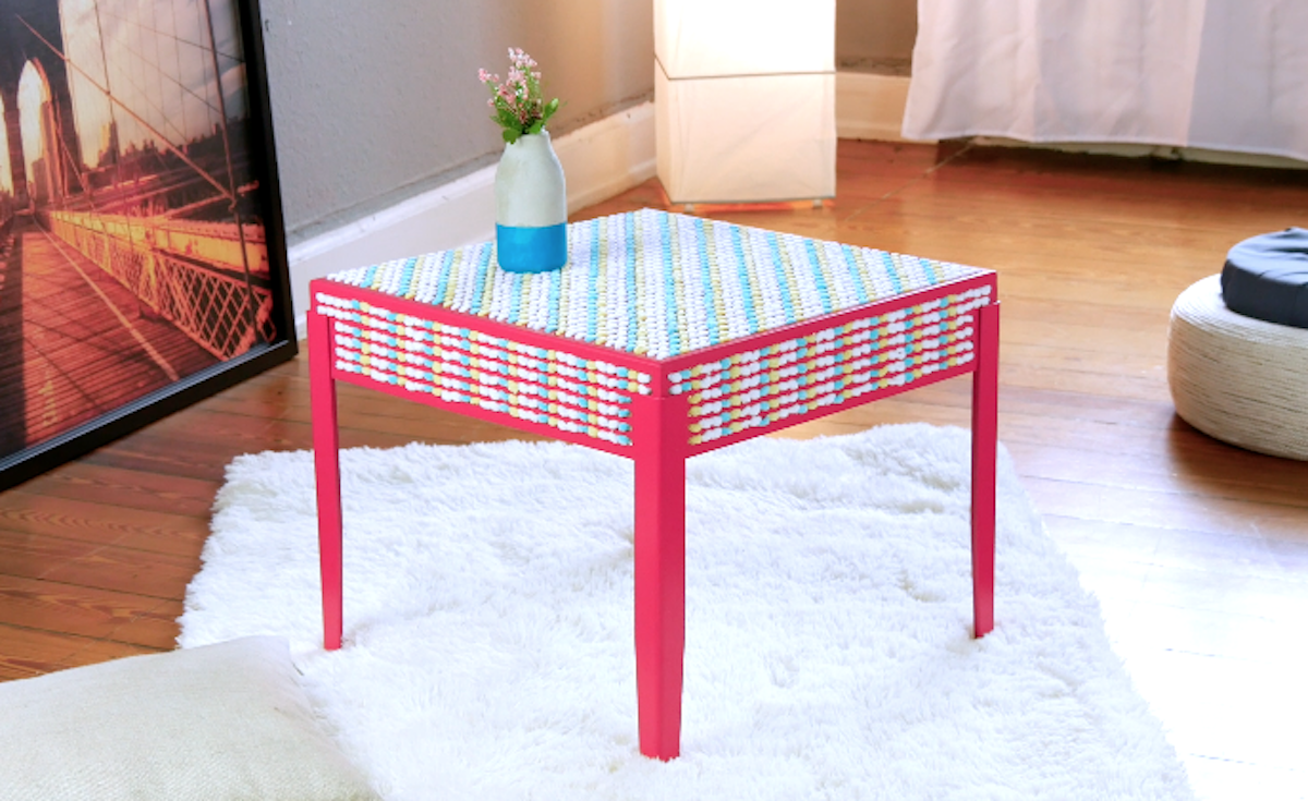 wool covered table