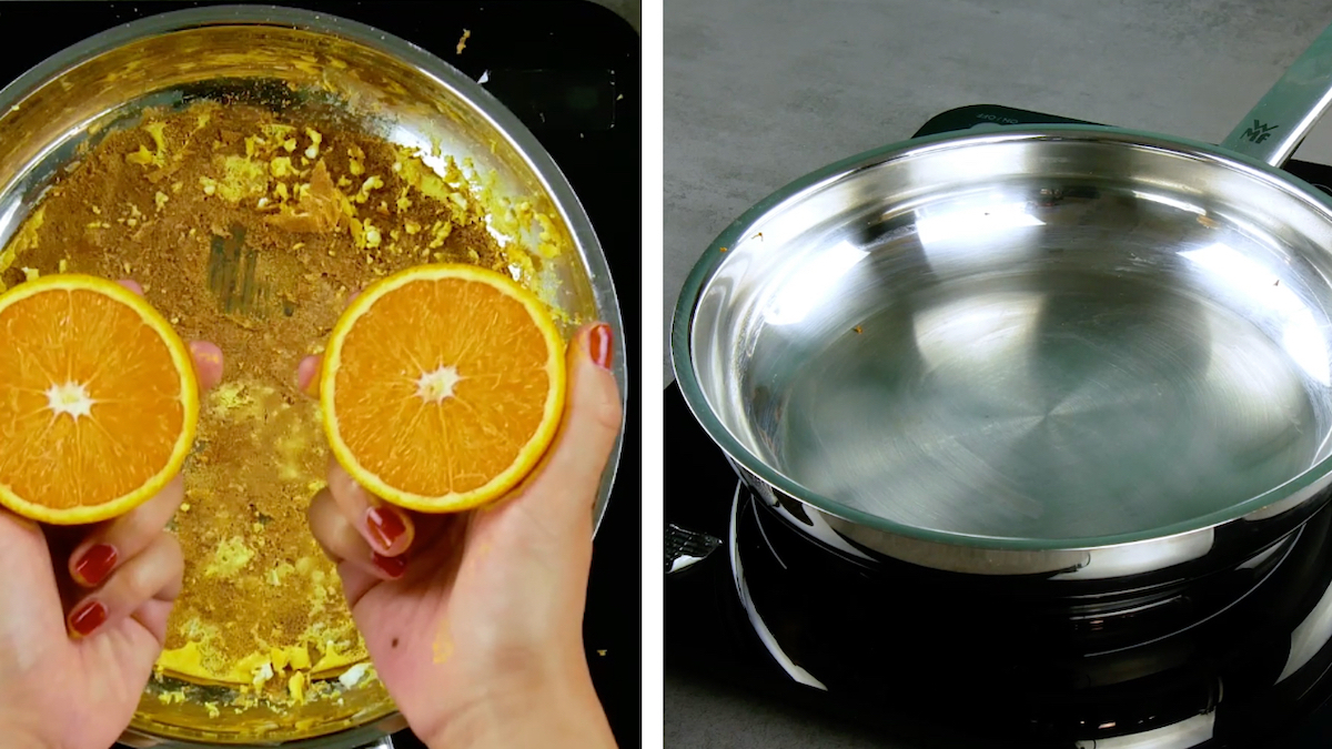 Clean a burnt pan with an orange