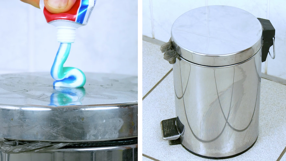 Clean a dirty trash can with toothpaste