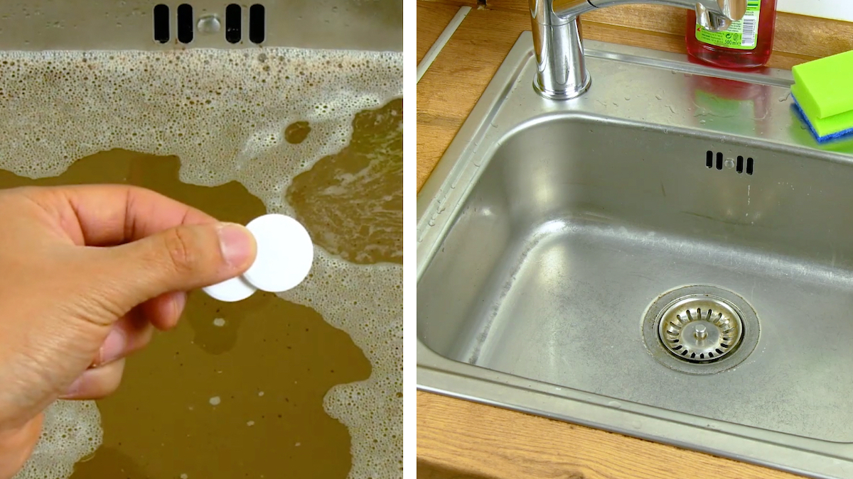 Unclog a sink with a tablet