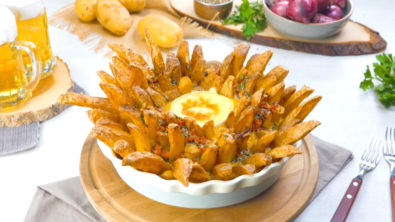 frittata avec frites et camembert
