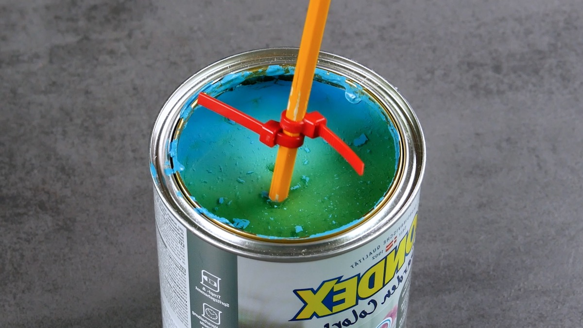 Mix the paint with cable ties
