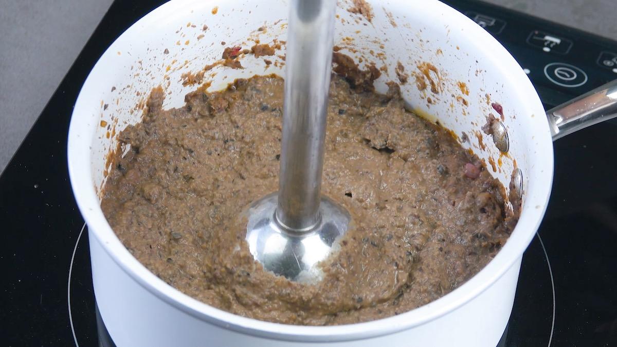 réduire les haricots en purée