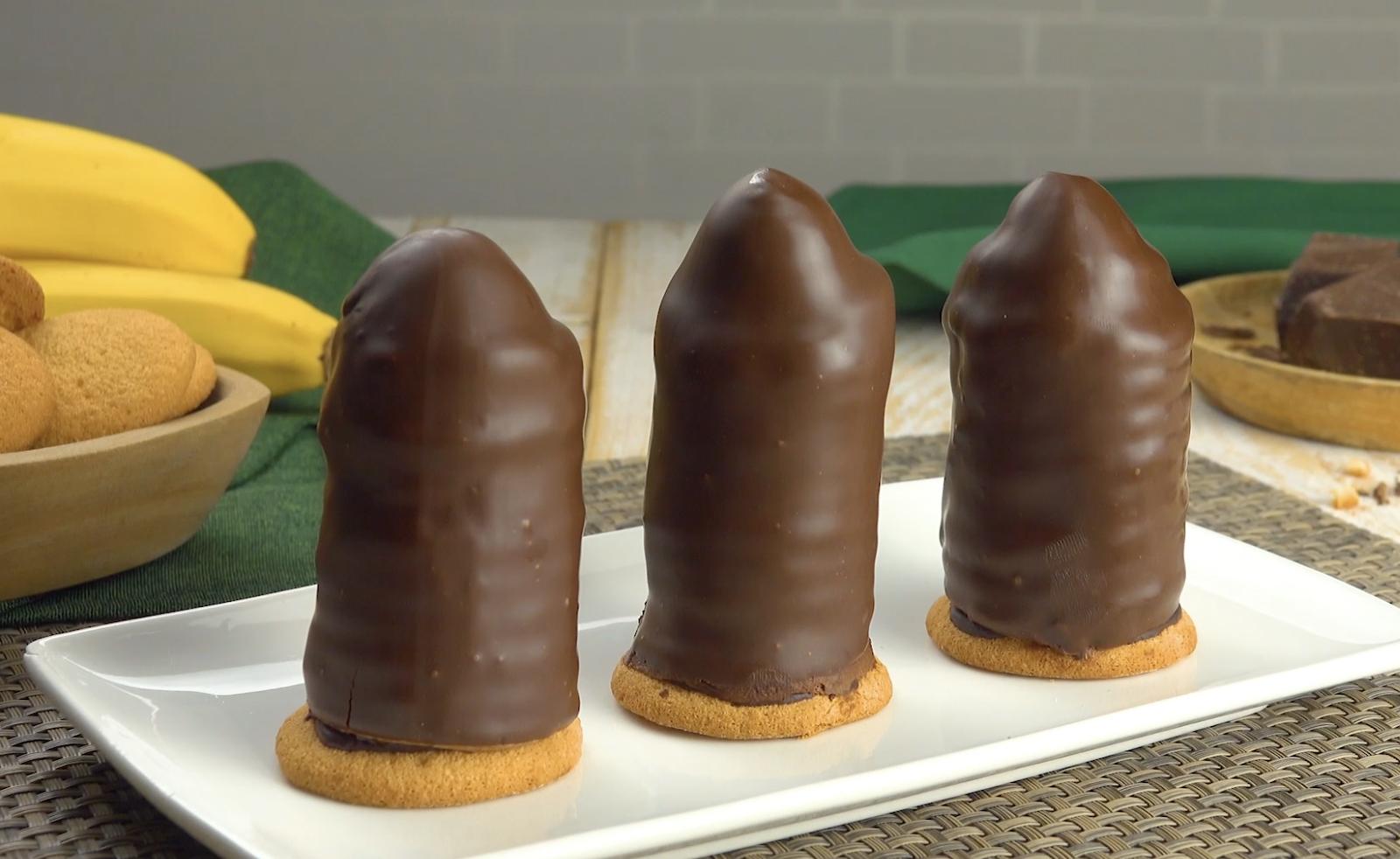 Tours de chocolat garnies à la banane