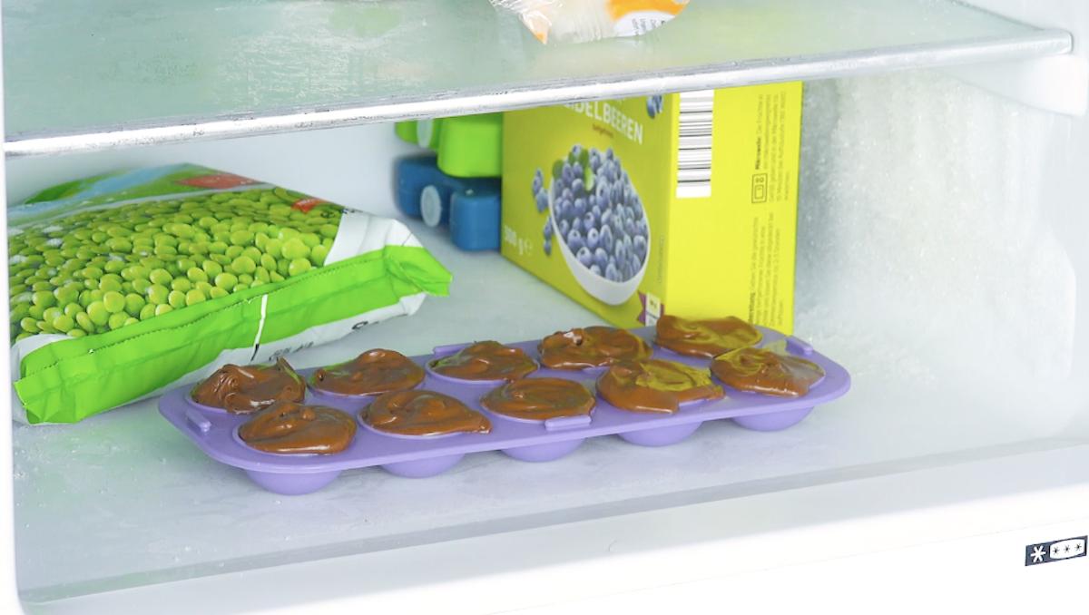mettre le nutella dans le bac à glaçons