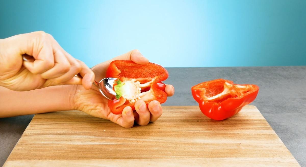 retirer les graines du poivron