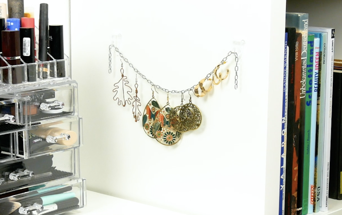 Jewelry chain hanging on the wall