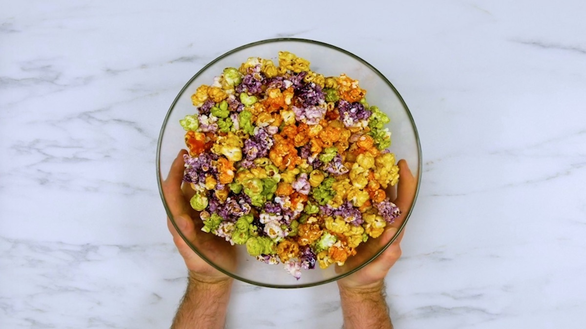 Colorful and fruity popcorn
