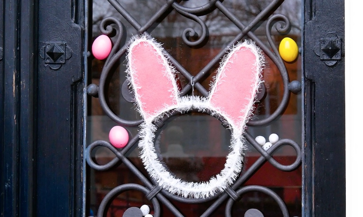 bunny shaped easter wreath