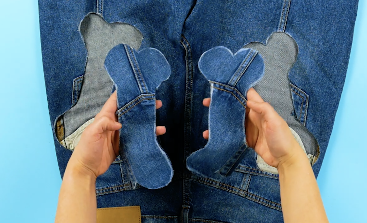 découper des os dans un vieux jean