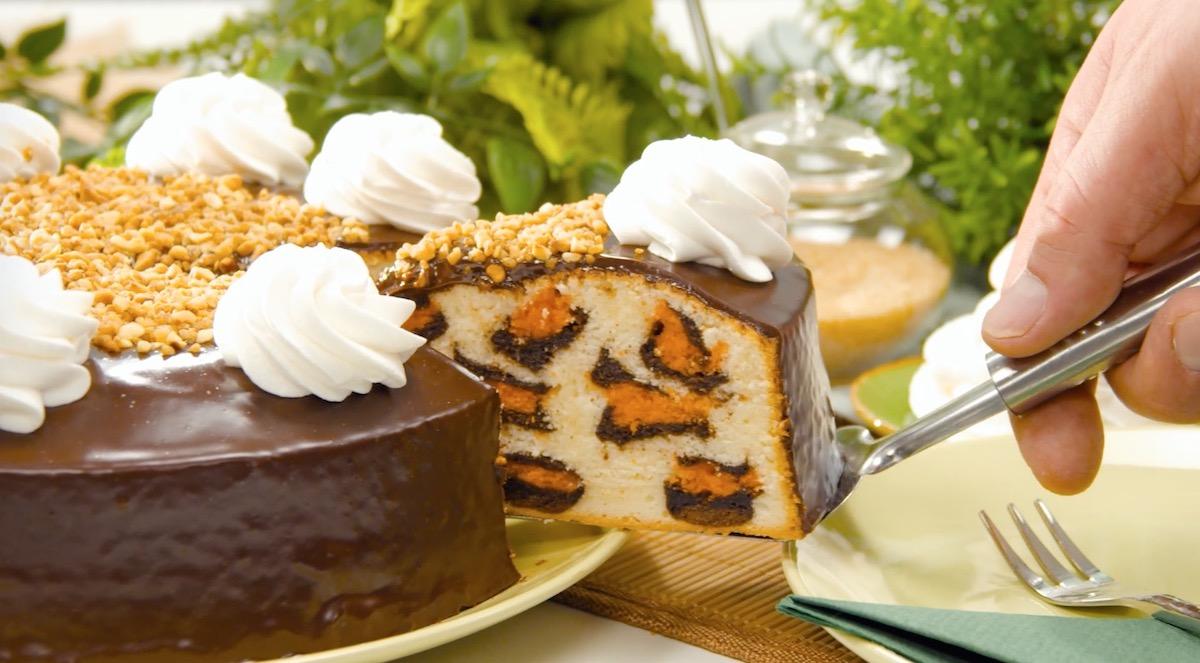 gâteau léopard recouvert de chocolat et de crème fouettée