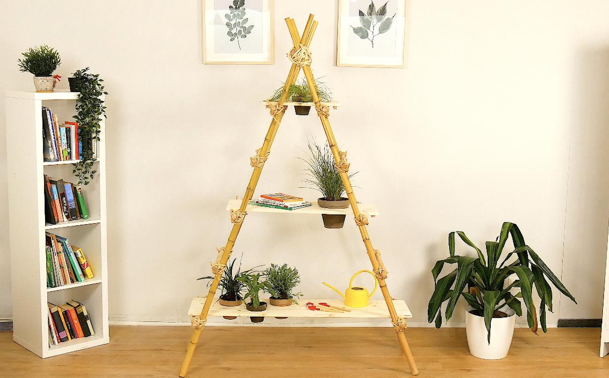 étagères en bambou pour plantes