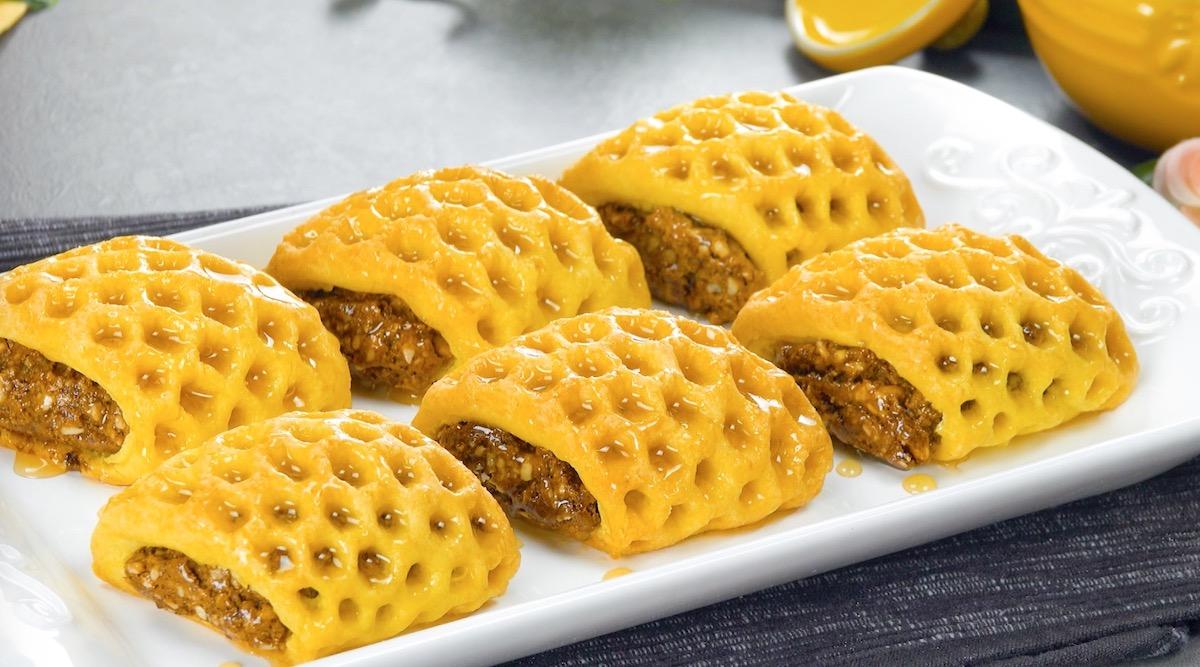 alvéoles fourrées au miel et aux amandes